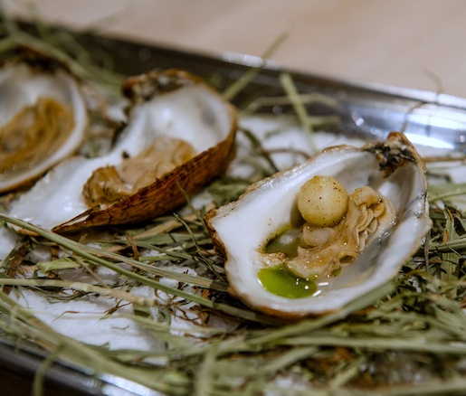Hay-Smoked Oysters with Green Apples and Pickling Spice